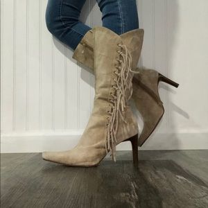 mossimo fringe boots knee high heel leather m 10